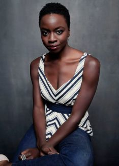 """NEW YORK 2015-09-19 Writer and Actress Danai Gurira, who wrote the play """"Eclipsed"""" about women in the second Liberian civil war, at The Public Theater in New York, Sept. 19, 2015. Academy Award winner Lupita Nyong'o, who while at Yale was an understudy for a production of """"Eclipsed,"""" will make her New York stage debut in the play. (Jesse Dittmar/The New York Times) Foto JESSE DITTMAR / NY Times / TT / kod 10304 ***BETALBILD***"""